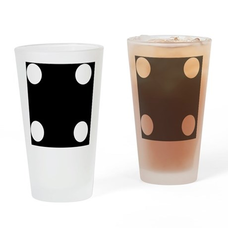 Black Dice 4 Drinking Glass