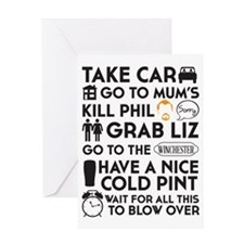 SHAUN OF THE DEAD THE PLAN BLACK Greeting Card