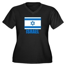 Israel Flag Women's Plus Size V-Neck Dark T-Shirt