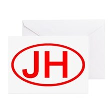 JH Oval (Red) Greeting Cards (Pk of 10)