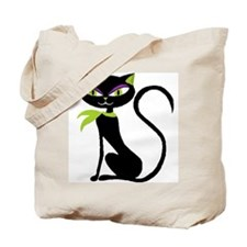 Black Retro Kitty Tote Bag