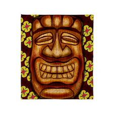 Happy Tiki Print Throw Blanket