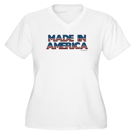 Made in America Women's Plus Size V-Neck T-Shirt