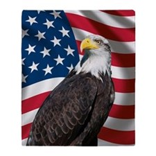 USA flag with bald eagle Throw Blanket