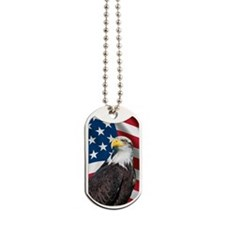USA flag with bald eagle Dog Tags