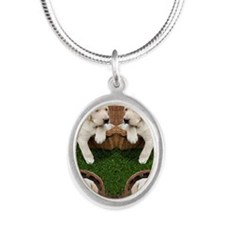 Cute Lab Puppy Silver Oval Necklace