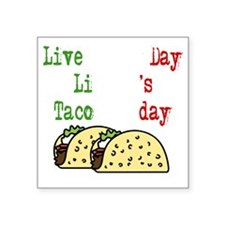 "Taco Tuesday On Black Square Sticker 3"" x 3"""