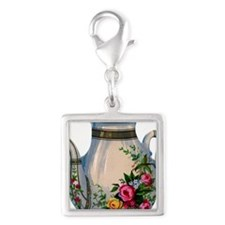 Always Tea Time Silver Square Charm