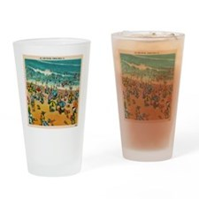 Vintage Virginia Beach Postcard Drinking Glass