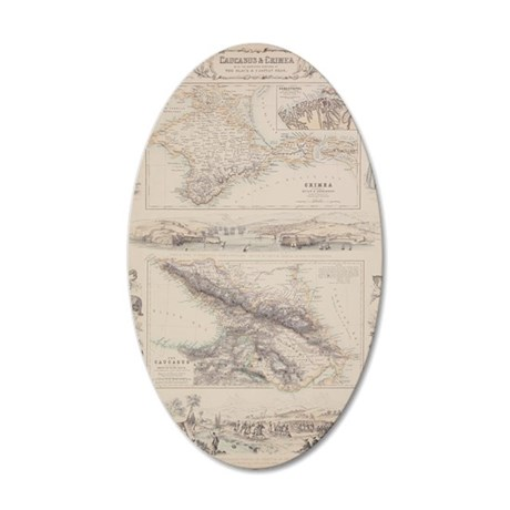 Antique maps of Caucasus and 35x21 Oval Wall Decal