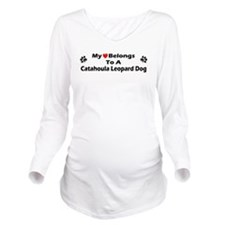 Cute Catahoula leopard dog art Long Sleeve Maternity T-Shirt