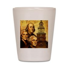 Founding fathers in front of the Declar Shot Glass