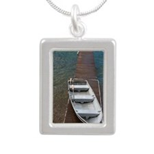 Boat on dock, Washington Silver Portrait Necklace
