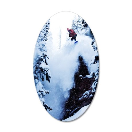 A snowboarder jumping off a  35x21 Oval Wall Decal