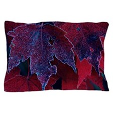 Close-up of frosted red maple autumn l Pillow Case