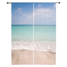 "Beach scene with blue sky, turquoise  84"" Curtains"