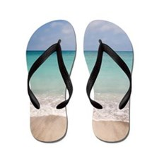 Beach scene with blue sky, turquoise wa Flip Flops