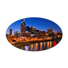 Nashville, Tennessee skyline Oval Car Magnet