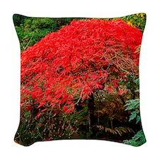 Maple tree in Ilnacullen garde Woven Throw Pillow