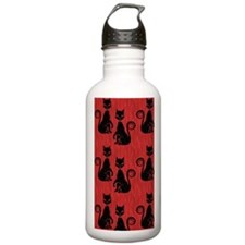 Black Cats on Red Silk Water Bottle
