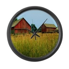 Farm Field with Red Barns Large Wall Clock