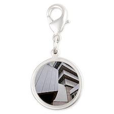 brutalism Silver Round Charm