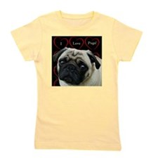 Cute I Love Pugs Girl's Tee