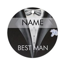 Best Man Name Tag Round Ornament
