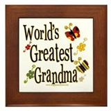 Grandma Butterflies Framed Tile