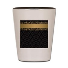Golden Stripe Vintage Damask Shot Glass