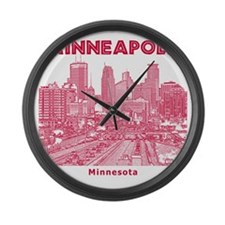 Minneaplis_12X12_Downtown_Red Large Wall Clock