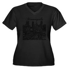 Minneapolis_ Women's Plus Size Dark V-Neck T-Shirt