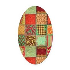 Quilt Oval Car Magnet