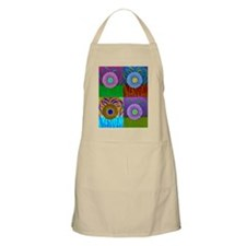 Collage of Abstract Flower Painting Apron