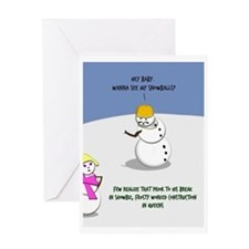 Frosty The Construction Worker Greeting Card