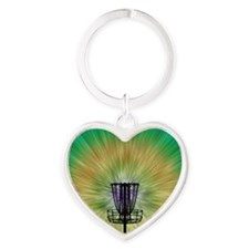 Tie Dye Disc Golf Basket Heart Keychain