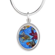 Wild Goldfish Silver Oval Necklace