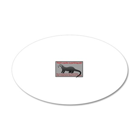 Parking Ferret (grey-red) 20x12 Oval Wall Decal