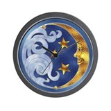 Celestial Moon and Stars Wall Clock