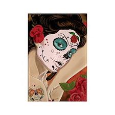 Blue Skull - dia de los muertos P Rectangle Magnet