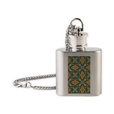 Elegant Aqua and Orange Phone Case Flask Necklace