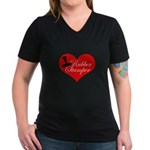 Rubber Stamper - Heart Women's V-Neck Dark T-Shirt