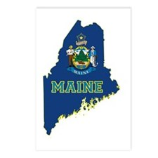Maine State Flag and Map Postcards (Package of 8)