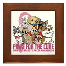Breast Cancer Paws for the Cure Framed Tile