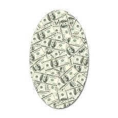 100 Dollar Bill Money Patter 35x21 Oval Wall Decal