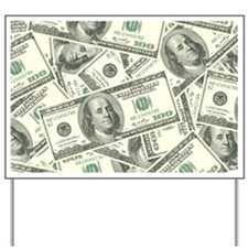 100 Dollar Bill Money Pattern Yard Sign