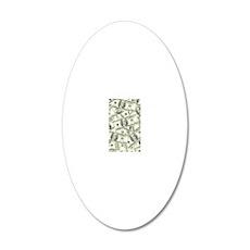 100 Dollar Bill Money Patter 20x12 Oval Wall Decal