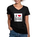 I Love Rubber Stamps Women's V-Neck Dark T-Shirt