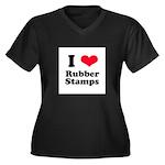 I Love Rubber Stamps Women's Plus Size V-Neck Dark