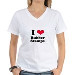 I Love Rubber Stamps Women's V-Neck T-Shirt